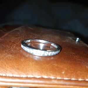White gold real diamond wedding band